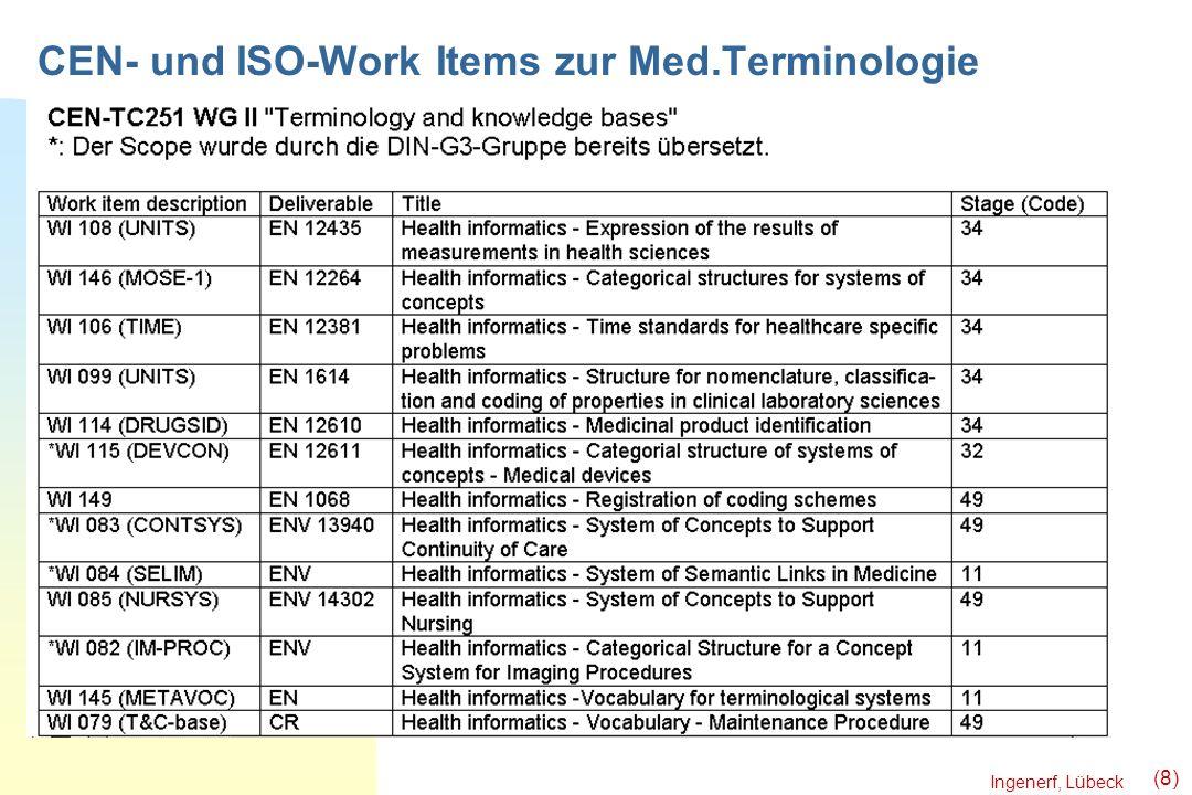 Ingenerf, Lübeck (8) CEN- und ISO-Work Items zur Med.Terminologie