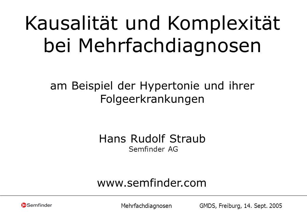 Mehrfachdiagnosen GMDS, Freiburg, 14. Sept. 2005 Kausalität und Komplexität bei Mehrfachdiagnosen am Beispiel der Hypertonie und ihrer Folgeerkrankung