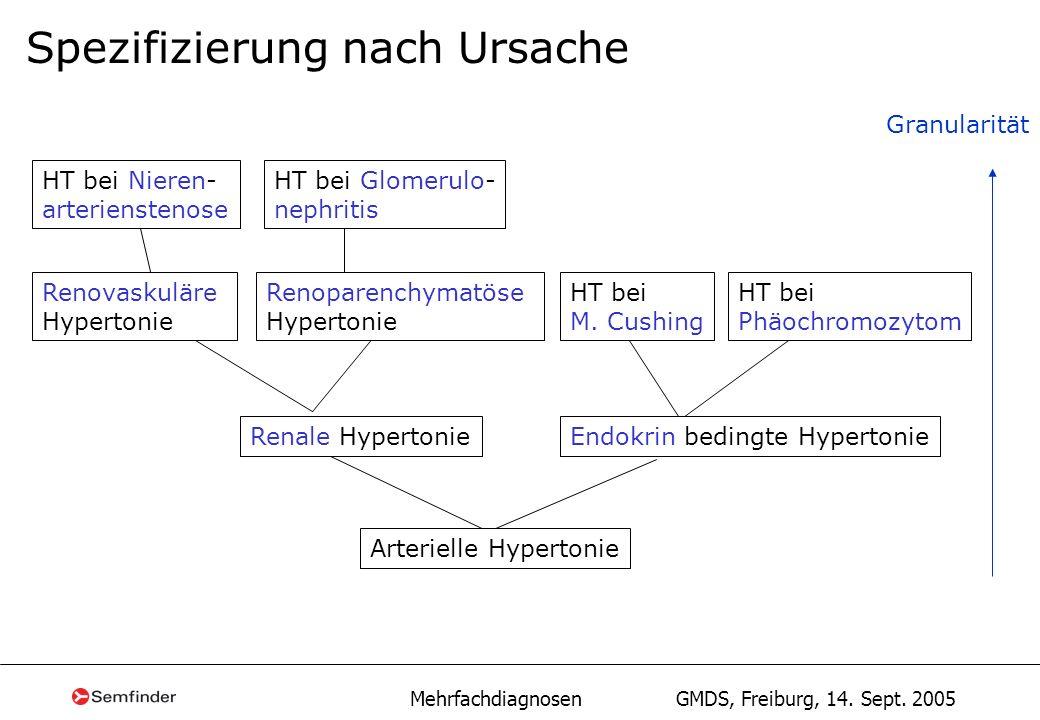 Mehrfachdiagnosen GMDS, Freiburg, 14. Sept. 2005 Spezifizierung nach Ursache Renale HypertonieEndokrin bedingte Hypertonie Renovaskuläre Hypertonie Re