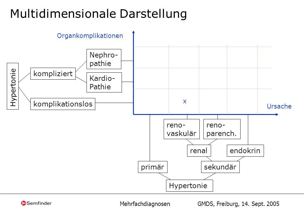 Mehrfachdiagnosen GMDS, Freiburg, 14. Sept. 2005 Multidimensionale Darstellung renal reno- vaskulär endokrin kompliziert Nephro- pathie Kardio- Pathie