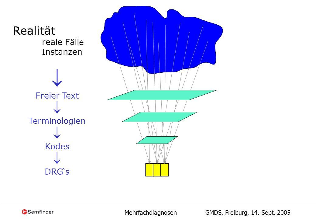 Mehrfachdiagnosen GMDS, Freiburg, 14. Sept. 2005 Realität reale Fälle Instanzen Freier Text Terminologien Kodes DRGs