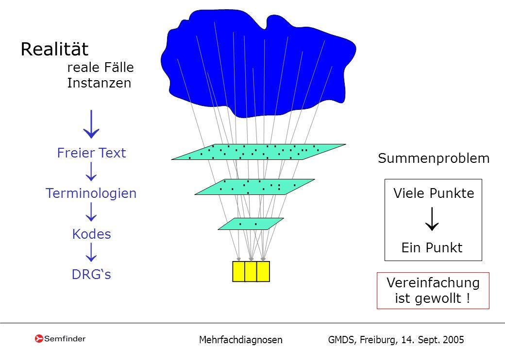 Mehrfachdiagnosen GMDS, Freiburg, 14. Sept. 2005 Realität reale Fälle Instanzen Freier Text Terminologien Kodes DRGs Viele Punkte Ein Punkt Summenprob