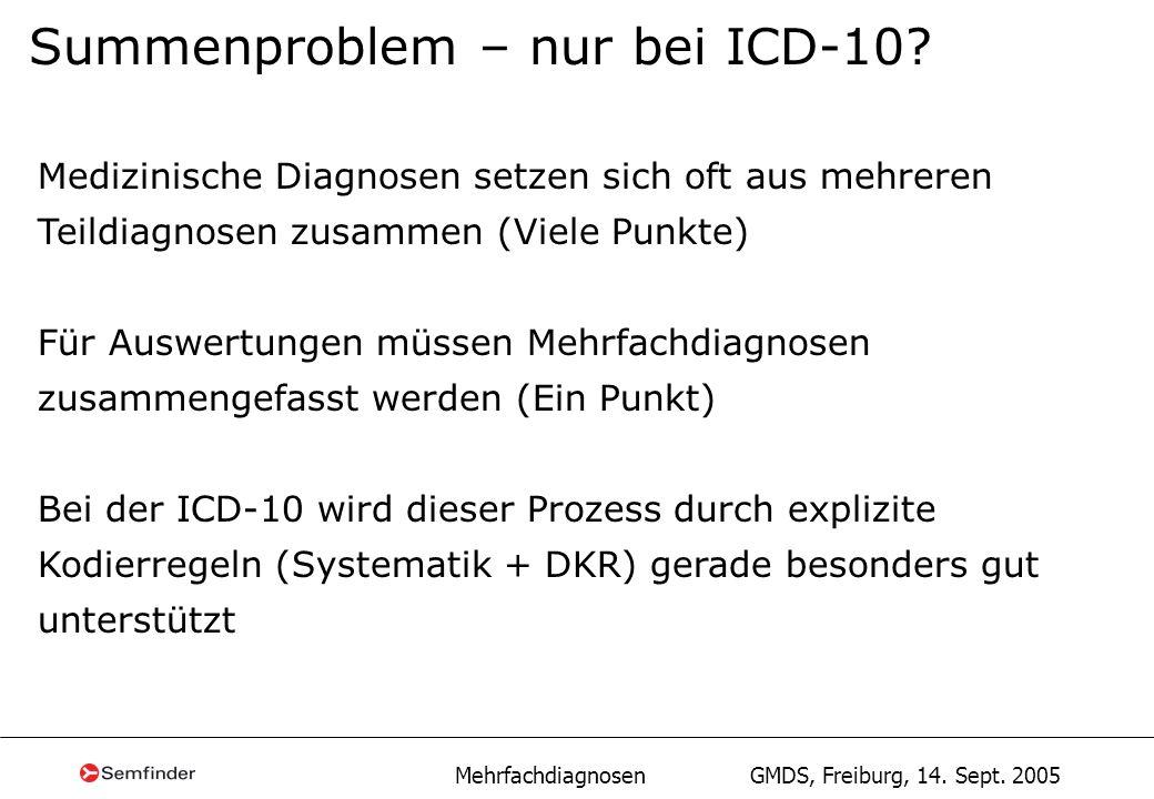 Mehrfachdiagnosen GMDS, Freiburg, 14. Sept. 2005 Summenproblem – nur bei ICD-10? Medizinische Diagnosen setzen sich oft aus mehreren Teildiagnosen zus