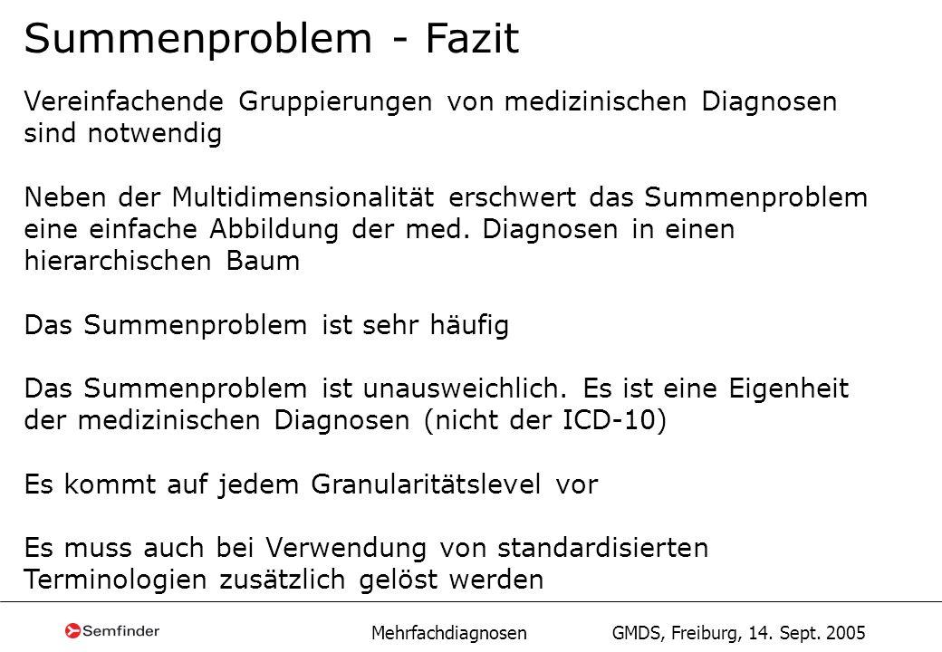 Mehrfachdiagnosen GMDS, Freiburg, 14. Sept. 2005 Summenproblem - Fazit Vereinfachende Gruppierungen von medizinischen Diagnosen sind notwendig Neben d