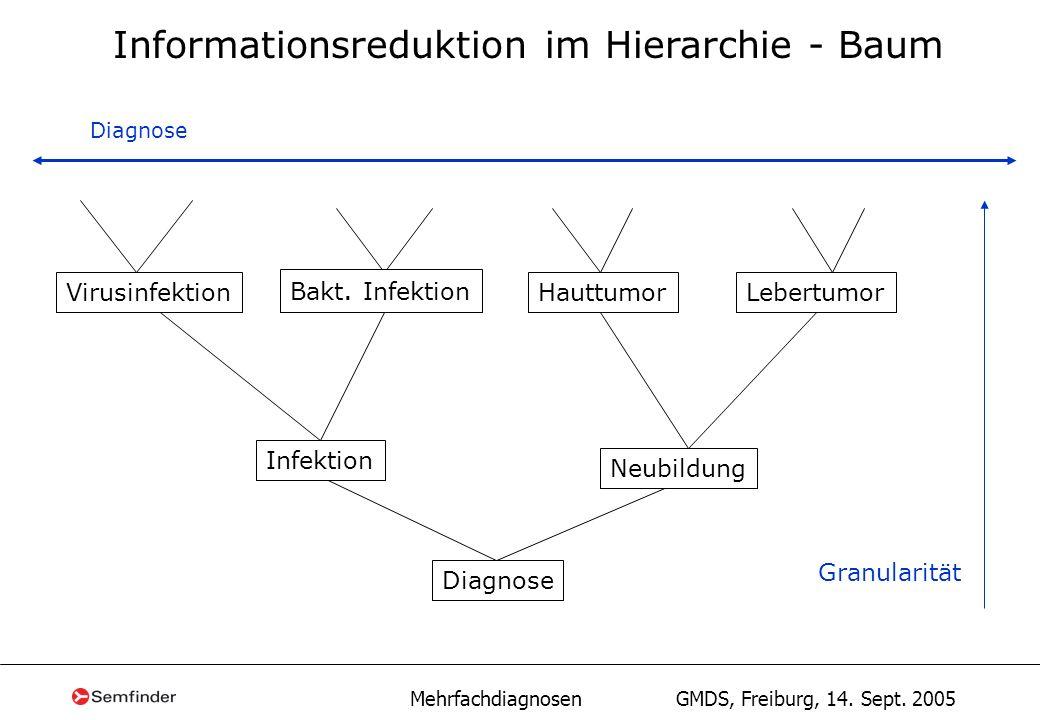 Mehrfachdiagnosen GMDS, Freiburg, 14. Sept. 2005 Informationsreduktion im Hierarchie - Baum Diagnose Infektion Neubildung Virusinfektion Bakt. Infekti