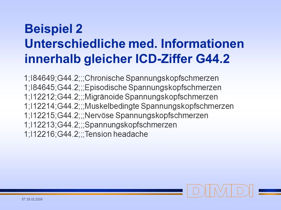 ST 26.02.2005 Beispiel 2 Unterschiedliche med. Informationen innerhalb gleicher ICD-Ziffer G44.2 1;I84649;G44.2;;;Chronische Spannungskopfschmerzen 1;
