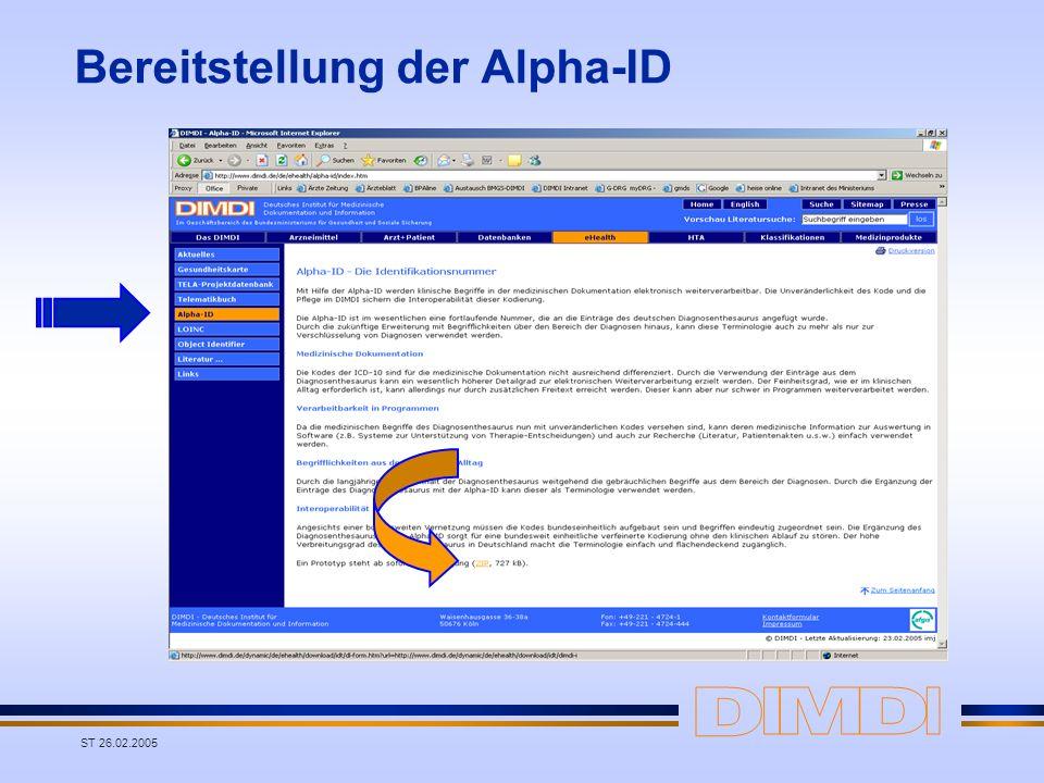 ST 26.02.2005 Bereitstellung der Alpha-ID