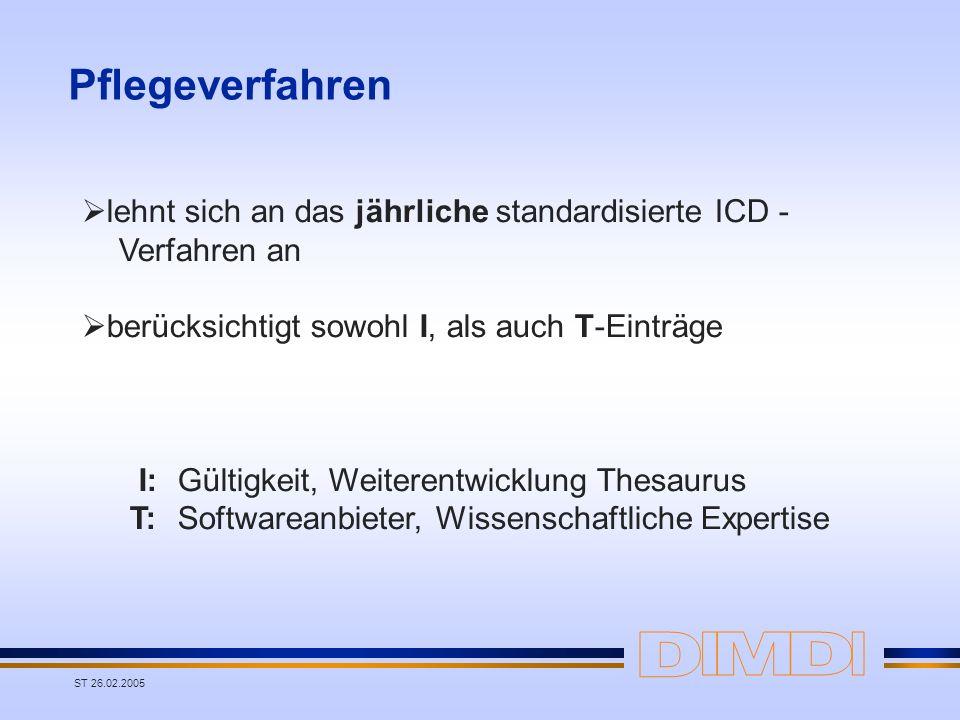 ST 26.02.2005 Pflegeverfahren lehnt sich an das jährliche standardisierte ICD - Verfahren an berücksichtigt sowohl I, als auch T-Einträge I: Gültigkei