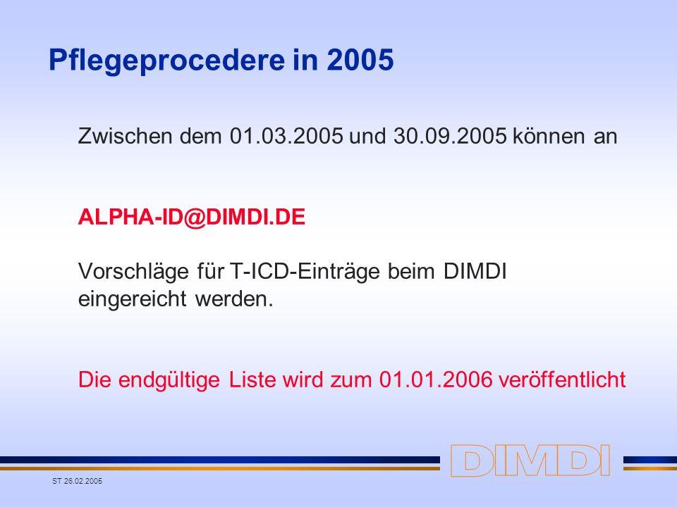 ST 26.02.2005 Pflegeprocedere in 2005 Zwischen dem 01.03.2005 und 30.09.2005 können an ALPHA-ID@DIMDI.DE Vorschläge für T-ICD-Einträge beim DIMDI eing