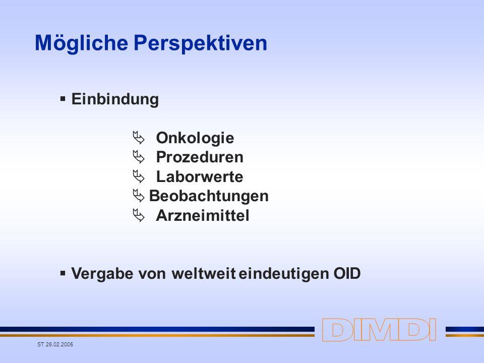 ST 26.02.2005 Mögliche Perspektiven Einbindung Onkologie Prozeduren Laborwerte Beobachtungen Arzneimittel Vergabe von weltweit eindeutigen OID