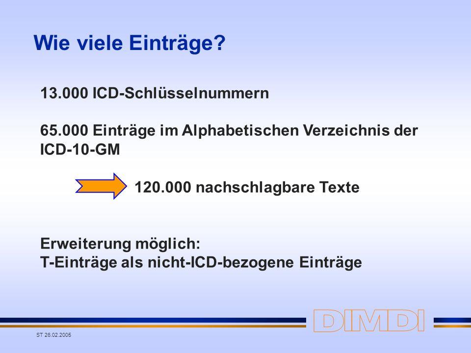 ST 26.02.2005 Wie viele Einträge? 13.000 ICD-Schlüsselnummern 65.000 Einträge im Alphabetischen Verzeichnis der ICD-10-GM 120.000 nachschlagbare Texte