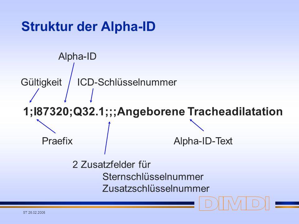 ST 26.02.2005 Struktur der Alpha-ID 1;I87320;Q32.1;;;Angeborene Tracheadilatation Gültigkeit Praefix Alpha-ID ICD-Schlüsselnummer 2 Zusatzfelder für S