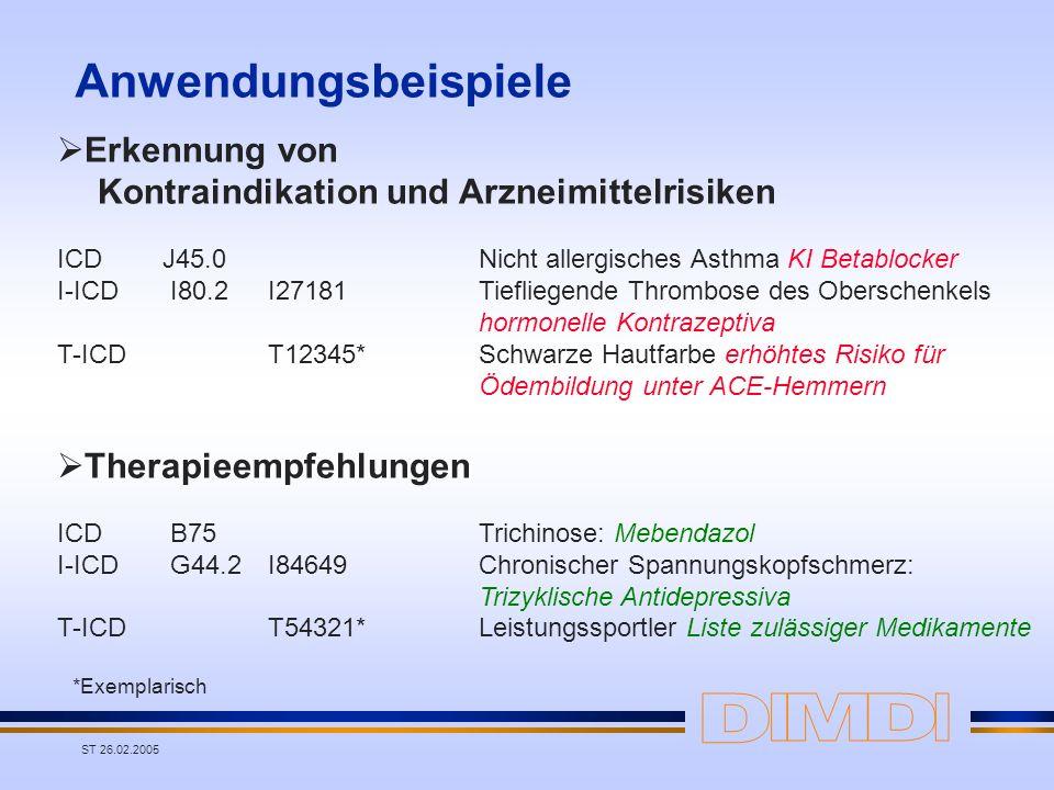 ST 26.02.2005 Anwendungsbeispiele Erkennung von Kontraindikation und Arzneimittelrisiken ICD J45.0Nicht allergisches Asthma KI Betablocker I-ICD I80.2