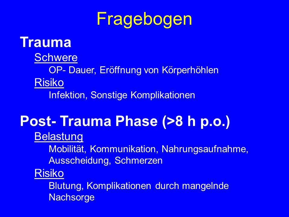Fragebogen Trauma Schwere OP- Dauer, Eröffnung von Körperhöhlen Risiko Infektion, Sonstige Komplikationen Post- Trauma Phase (>8 h p.o.) Belastung Mob