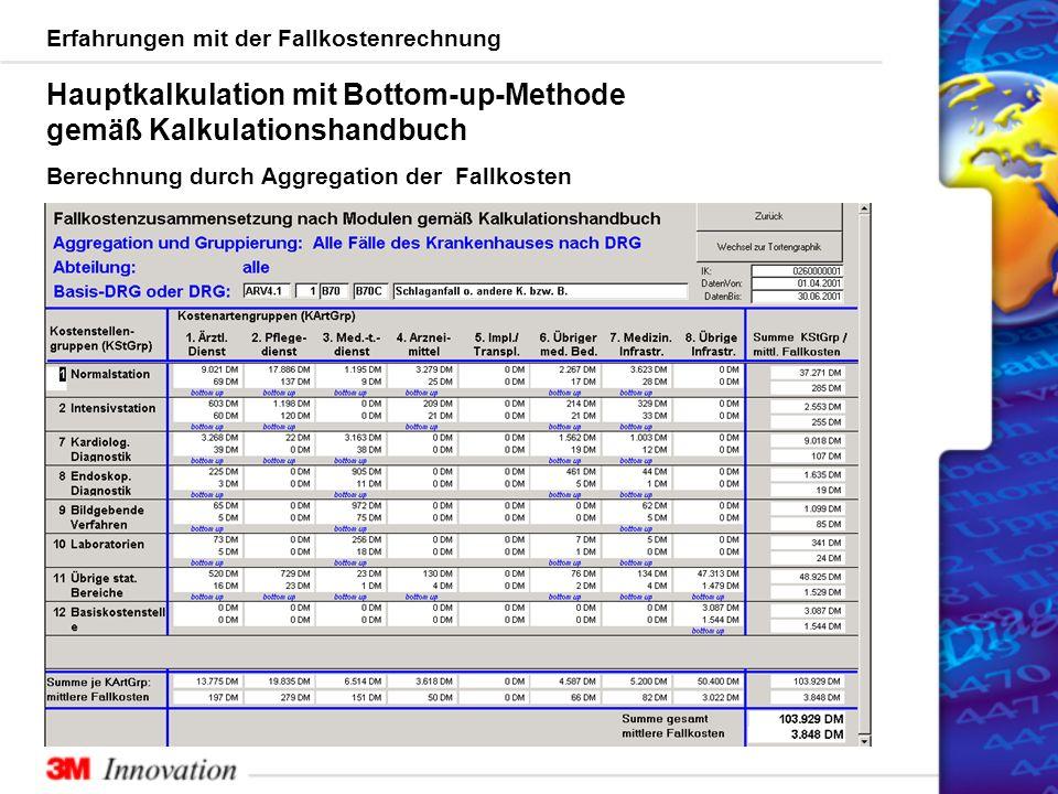 Erfahrungen mit der Fallkostenrechnung Hauptkalkulation mit Bottom-up-Methode gemäß Kalkulationshandbuch Berechnung durch Aggregation der Fallkosten