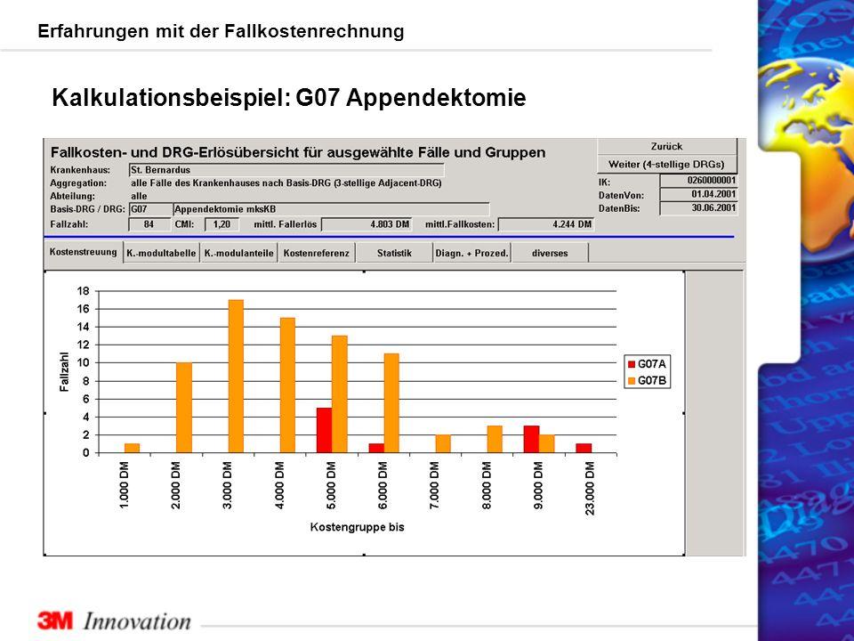 Erfahrungen mit der Fallkostenrechnung Kalkulationsbeispiel: G07 Appendektomie
