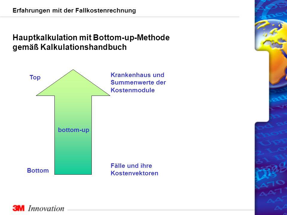 Erfahrungen mit der Fallkostenrechnung Fälle und ihre Kostenvektoren Bottom Top Krankenhaus und Summenwerte der Kostenmodule bottom-up Hauptkalkulation mit Bottom-up-Methode gemäß Kalkulationshandbuch