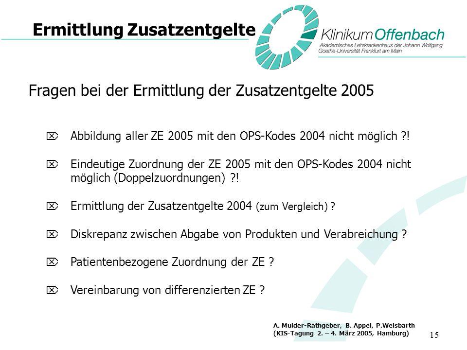 15 Ermittlung Zusatzentgelte Fragen bei der Ermittlung der Zusatzentgelte 2005 Abbildung aller ZE 2005 mit den OPS-Kodes 2004 nicht möglich ?! Eindeut