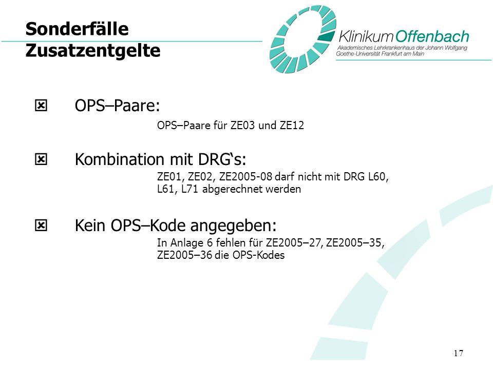 17 Sonderfälle Zusatzentgelte OPS–Paare: OPS–Paare für ZE03 und ZE12 Kombination mit DRGs: ZE01, ZE02, ZE2005-08 darf nicht mit DRG L60, L61, L71 abge