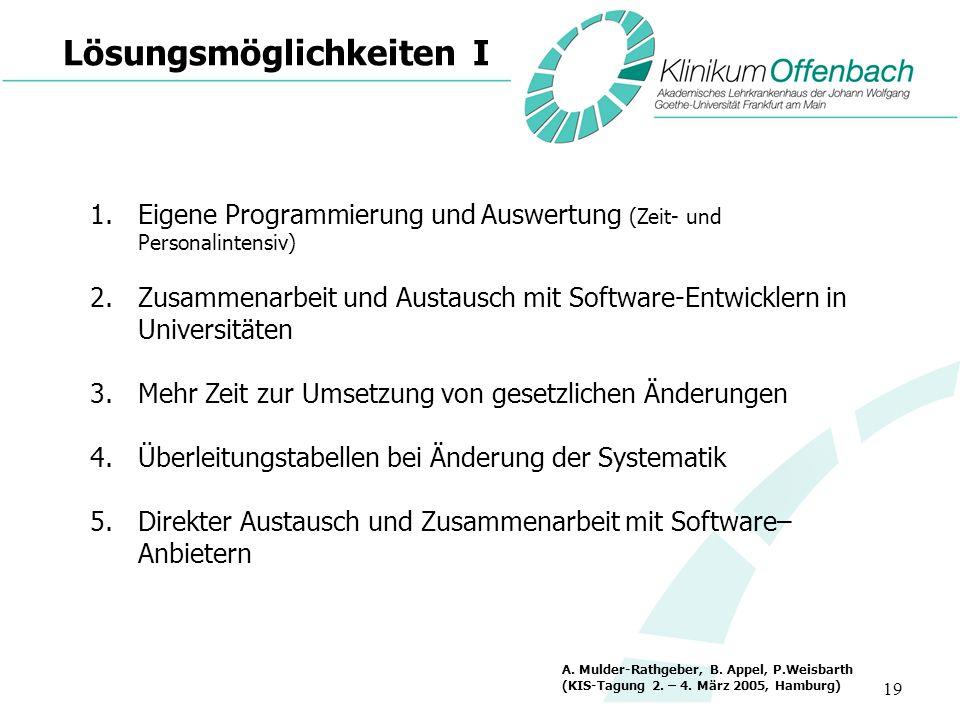 19 Lösungsmöglichkeiten I 1.Eigene Programmierung und Auswertung (Zeit- und Personalintensiv) 2.Zusammenarbeit und Austausch mit Software-Entwicklern