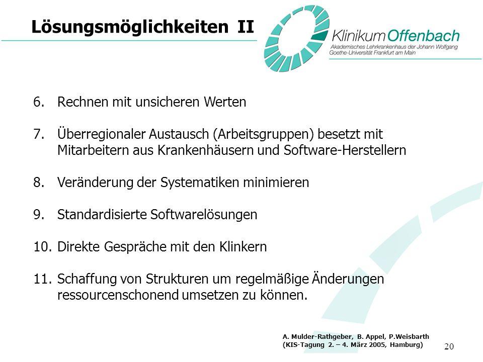 20 Lösungsmöglichkeiten II 6.Rechnen mit unsicheren Werten 7.Überregionaler Austausch (Arbeitsgruppen) besetzt mit Mitarbeitern aus Krankenhäusern und