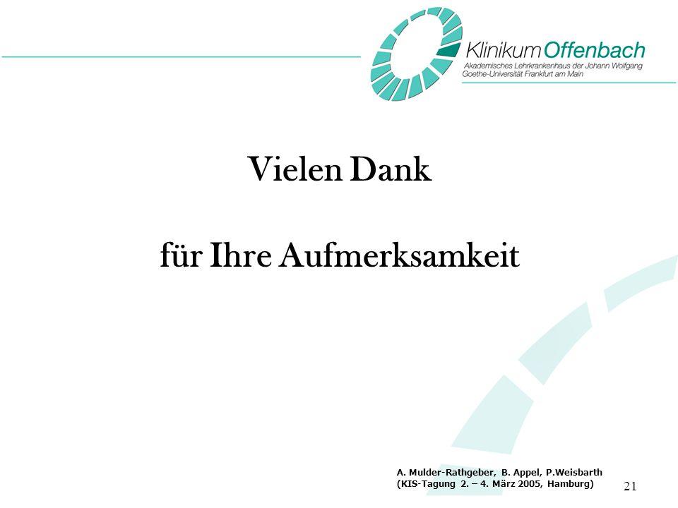 21 Vielen Dank für Ihre Aufmerksamkeit A. Mulder-Rathgeber, B. Appel, P.Weisbarth (KIS-Tagung 2. – 4. März 2005, Hamburg)