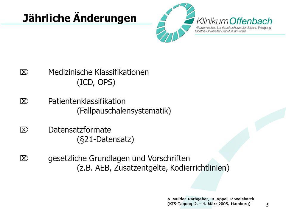 5 Jährliche Änderungen Medizinische Klassifikationen (ICD, OPS) Patientenklassifikation (Fallpauschalensystematik) Datensatzformate (§21-Datensatz) ge