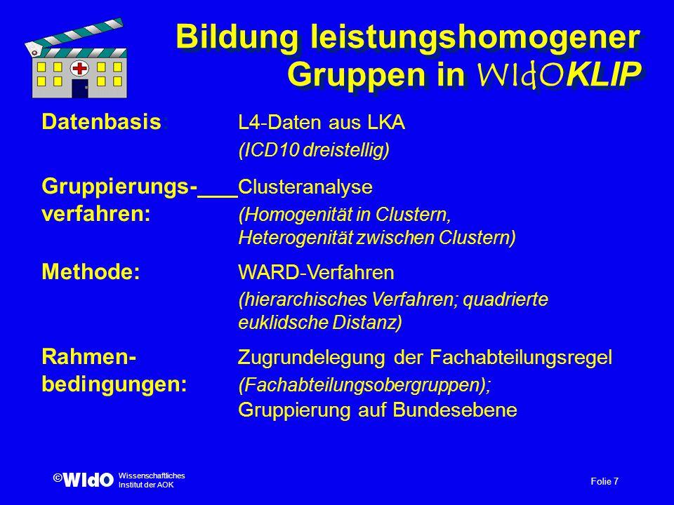 Folie 7 Wissenschaftliches Institut der AOK © Bildung leistungshomogener Gruppen in WIdOKLIP Datenbasis: L4-Daten aus LKA (ICD10 dreistellig) Gruppier