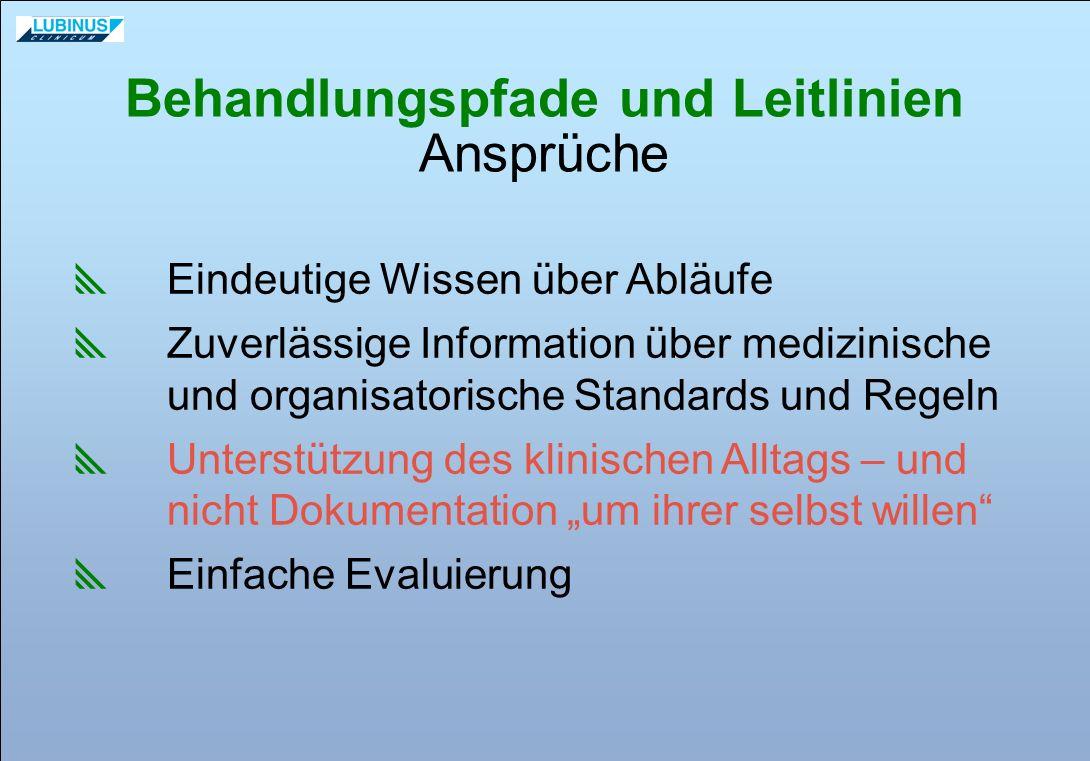 Behandlungspfade und Leitlinien Ansprüche Eindeutige Wissen über Abläufe Zuverlässige Information über medizinische und organisatorische Standards und