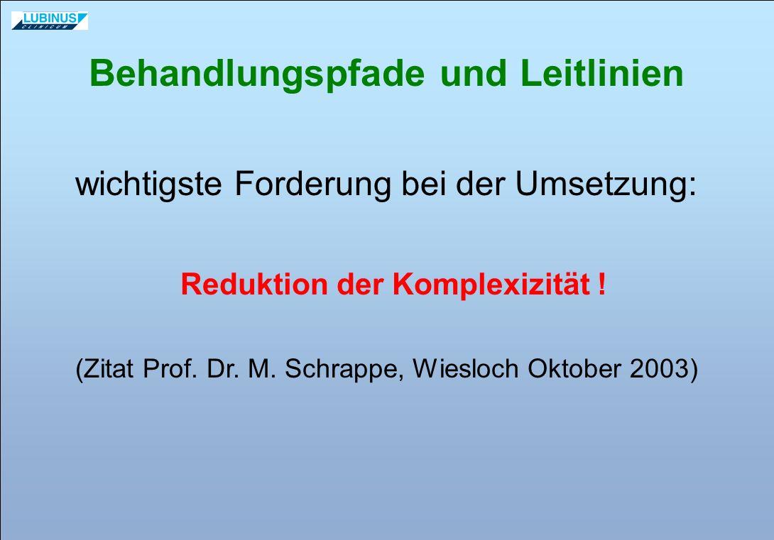 wichtigste Forderung bei der Umsetzung: Reduktion der Komplexizität ! (Zitat Prof. Dr. M. Schrappe, Wiesloch Oktober 2003) Behandlungspfade und Leitli