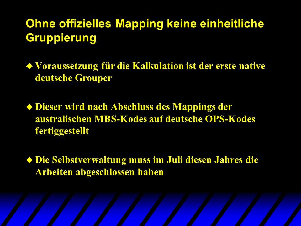 Ohne offizielles Mapping keine einheitliche Gruppierung u Voraussetzung für die Kalkulation ist der erste native deutsche Grouper u Dieser wird nach A