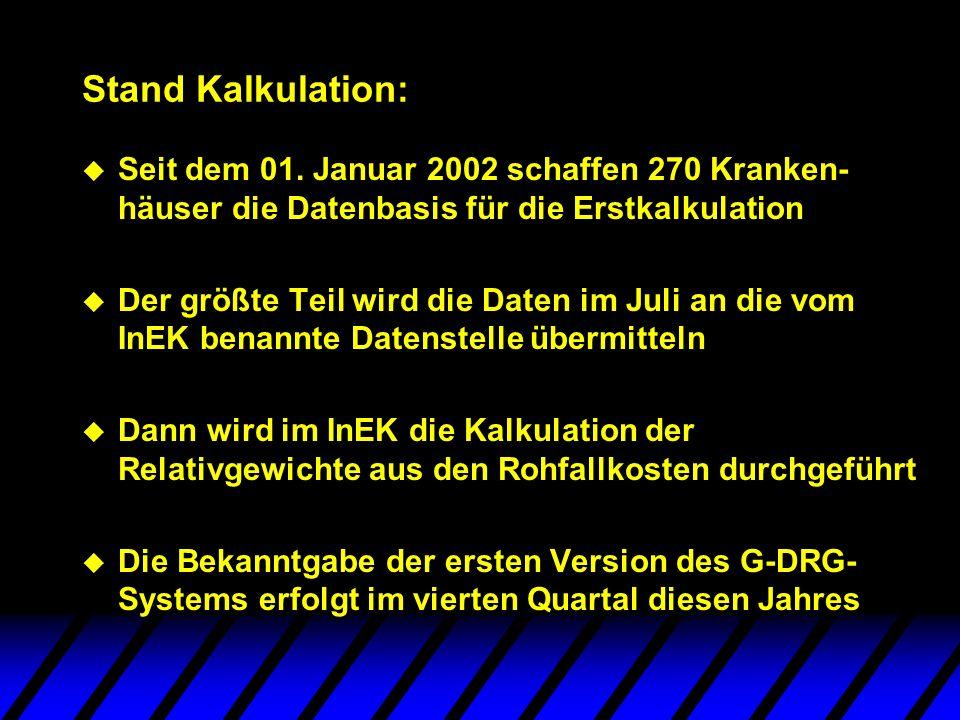 Stand Kalkulation: u Seit dem 01. Januar 2002 schaffen 270 Kranken- häuser die Datenbasis für die Erstkalkulation u Der größte Teil wird die Daten im