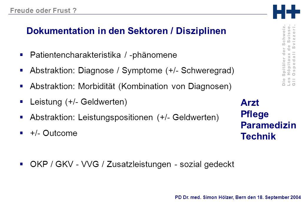PD Dr. med. Simon Hölzer, Bern den 18. September 2004 Freude oder Frust ? Dokumentation in den Sektoren / Disziplinen Patientencharakteristika / -phän