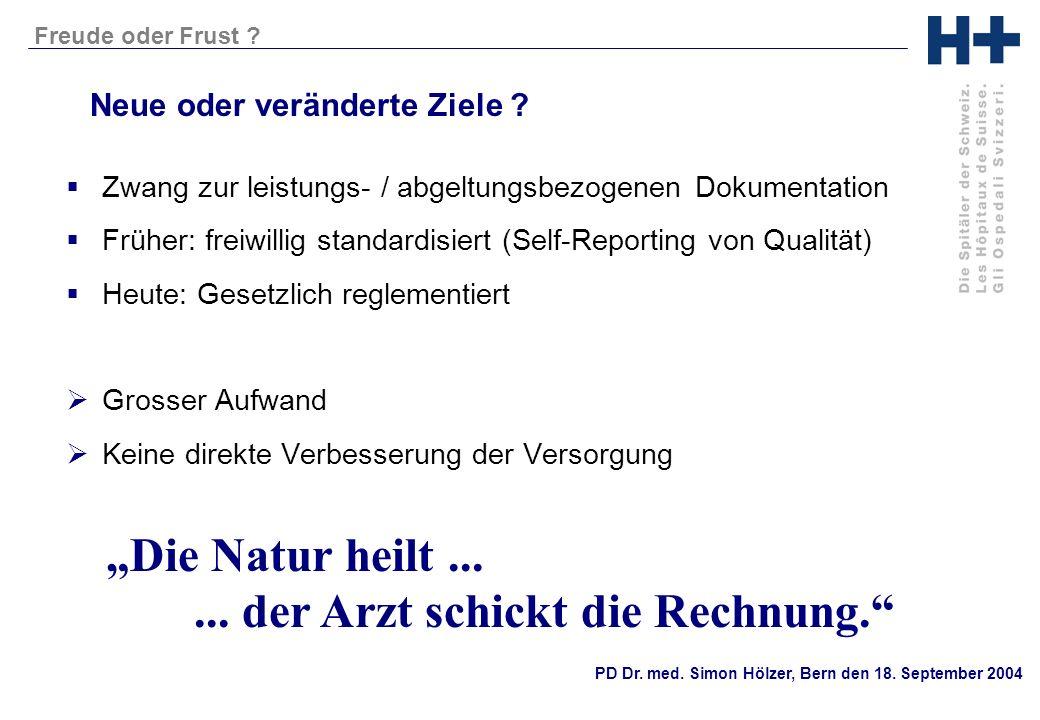 PD Dr. med. Simon Hölzer, Bern den 18. September 2004 Freude oder Frust ? Neue oder veränderte Ziele ? Zwang zur leistungs- / abgeltungsbezogenen Doku