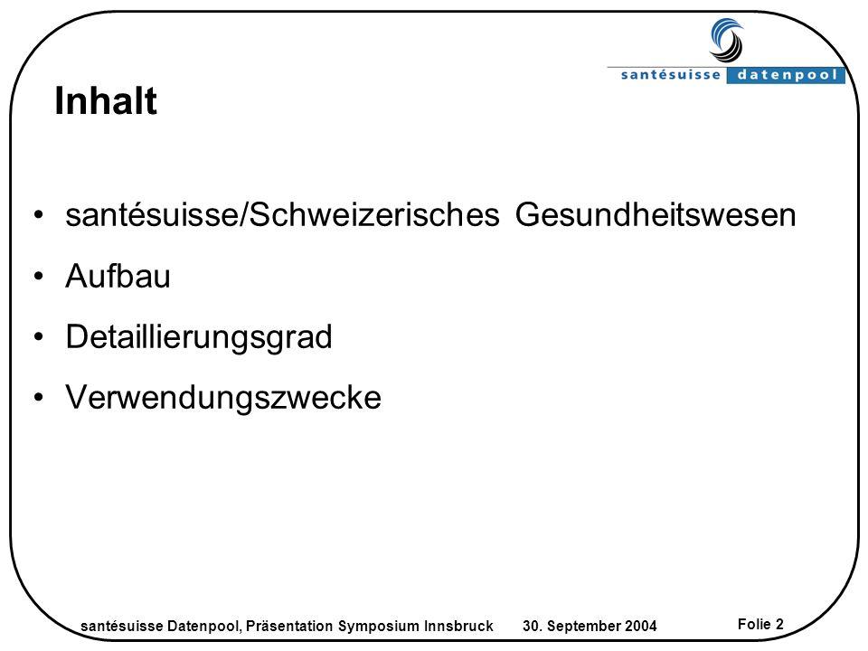 santésuisse Datenpool, Präsentation Symposium Innsbruck 30. September 2004 Folie 2 Inhalt santésuisse/Schweizerisches Gesundheitswesen Aufbau Detailli