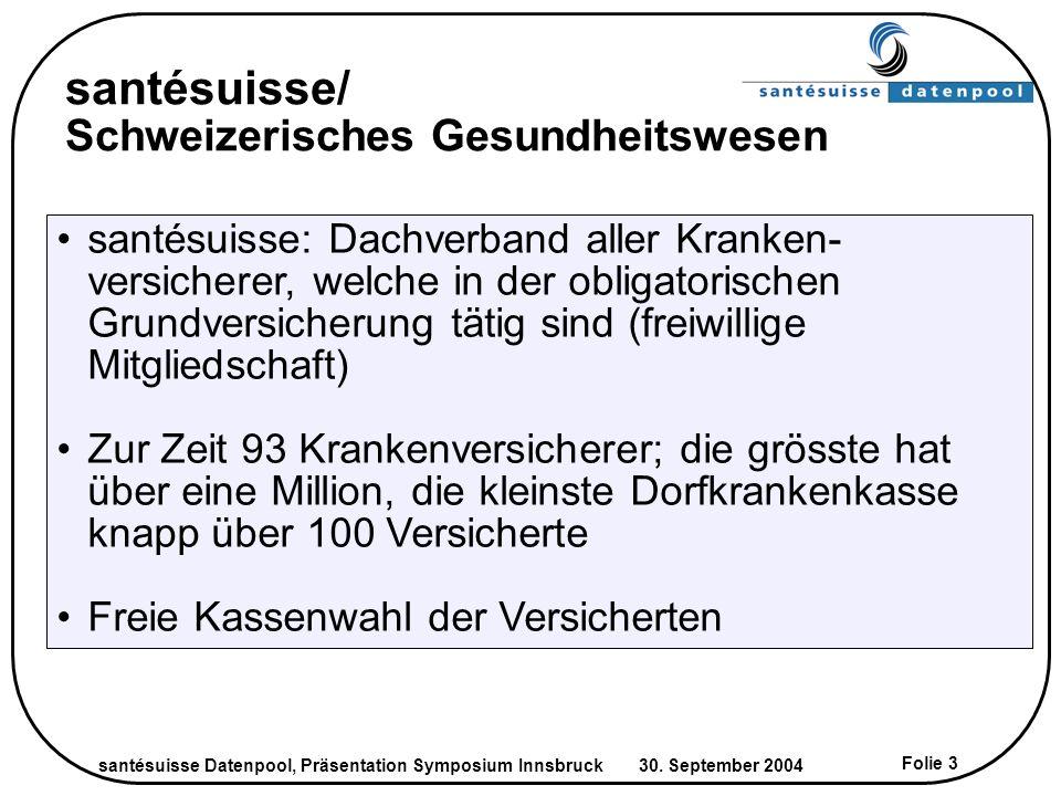 santésuisse Datenpool, Präsentation Symposium Innsbruck 30. September 2004 Folie 3 santésuisse/ Schweizerisches Gesundheitswesen Copyright santésuisse