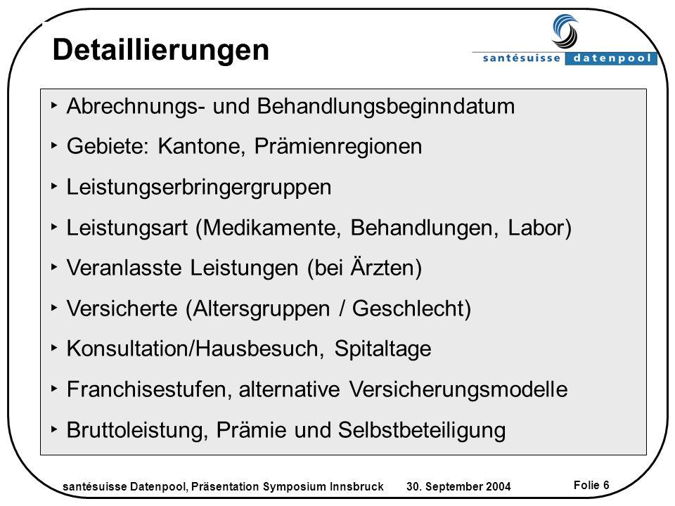 santésuisse Datenpool, Präsentation Symposium Innsbruck 30. September 2004 Folie 6 Detaillierungen Abrechnungs- und Behandlungsbeginndatum Gebiete: Ka