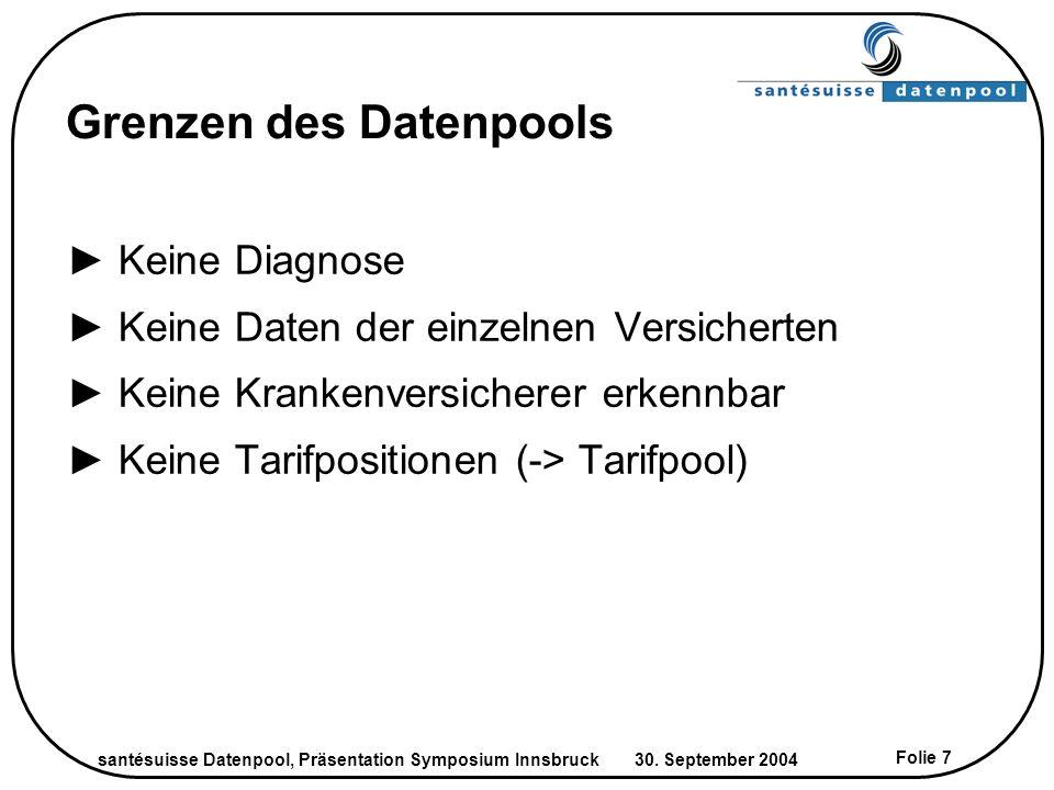 santésuisse Datenpool, Präsentation Symposium Innsbruck 30. September 2004 Folie 7 Grenzen des Datenpools Keine Diagnose Keine Daten der einzelnen Ver