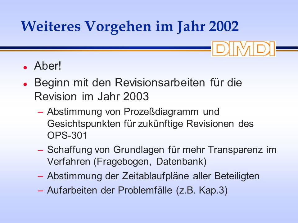 Weiteres Vorgehen im Jahr 2002 l Aber! l Beginn mit den Revisionsarbeiten für die Revision im Jahr 2003 –Abstimmung von Prozeßdiagramm und Gesichtspun