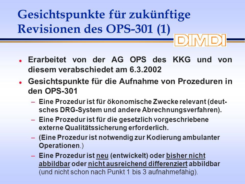Gesichtspunkte für zukünftige Revisionen des OPS-301 (1) l Erarbeitet von der AG OPS des KKG und von diesem verabschiedet am 6.3.2002 l Gesichtspunkte