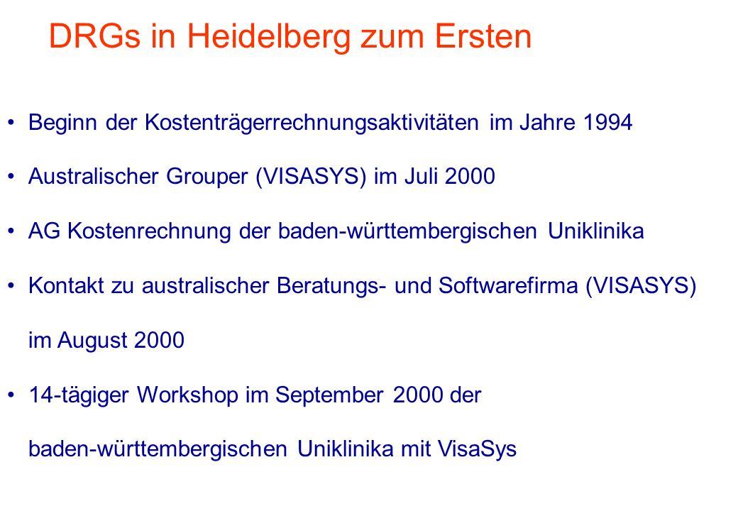 DRGs in Heidelberg zum Zweiten Einsatz von ComboPC seit Oktober 2000 in den baden-württembergischen Uniklinika - 6 Arbeitsbesuche von VISASYS Mitwirkung des Klinikums Heidelberg in der Expertenrunde zur Begleitung der Erstellung des Kalkulationsleitfadens Klinikum Heidelberg wird Pre-Test-Krankenhaus Erste DRG-Kalkulation seit Ende März 2001 Abgabe der Pre-Test Daten durch das Klinikum HD am 13.9.2001 Teilnahme an der Erstkalkulation deutscher DRG-Relativgewichte