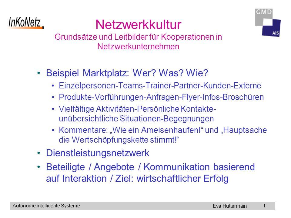 Eva Hüttenhain Autonome intelligente Systeme1 Netzwerkkultur Grundsätze und Leitbilder für Kooperationen in Netzwerkunternehmen Beispiel Marktplatz: Wer.