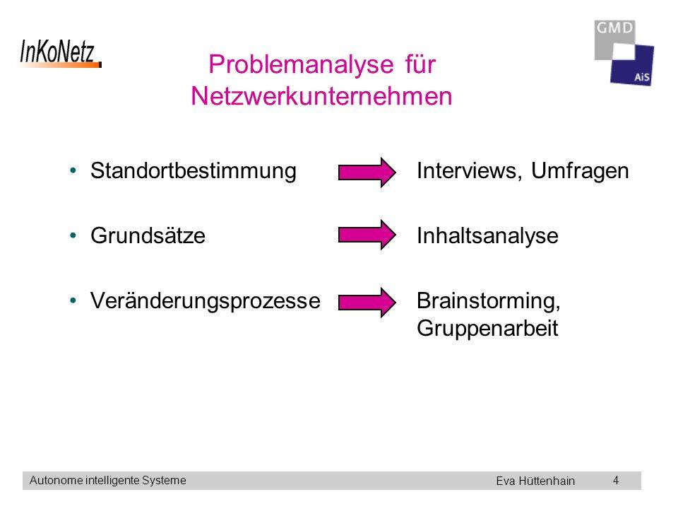 Eva Hüttenhain Autonome intelligente Systeme4 Problemanalyse für Netzwerkunternehmen Standortbestimmung Interviews, Umfragen Grundsätze Inhaltsanalyse Veränderungsprozesse Brainstorming, Gruppenarbeit
