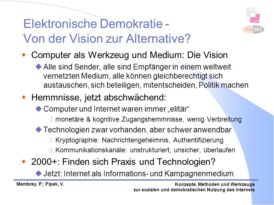 Mambrey, P.; Pipek, V.Konzepte, Methoden und Werkzeuge zur sozialen und demokratischen Nutzung des Internets Elektronische Demokratie - Von der Vision zur Alternative.