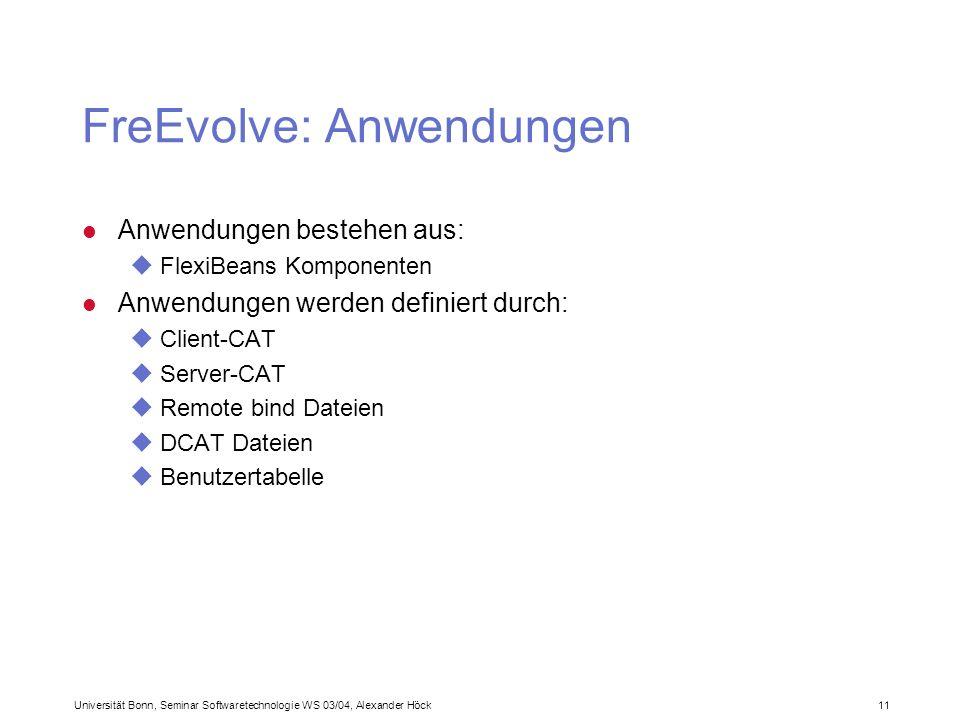 Universität Bonn, Seminar Softwaretechnologie WS 03/04, Alexander Höck 11 FreEvolve: Anwendungen l Anwendungen bestehen aus: uFlexiBeans Komponenten l Anwendungen werden definiert durch: uClient-CAT uServer-CAT uRemote bind Dateien uDCAT Dateien uBenutzertabelle
