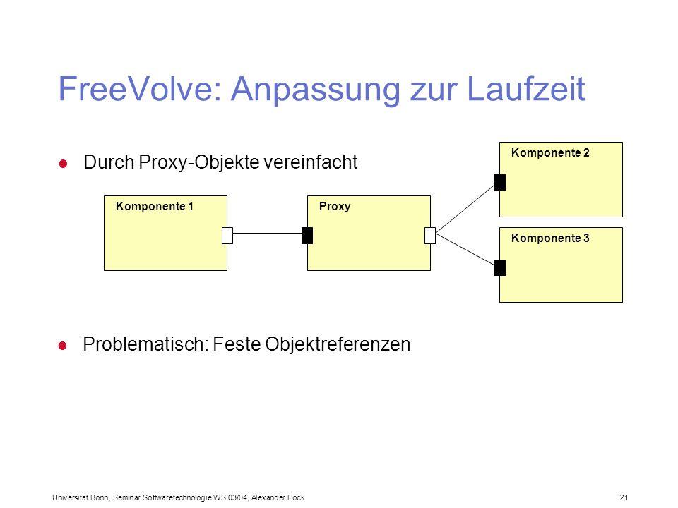 Universität Bonn, Seminar Softwaretechnologie WS 03/04, Alexander Höck 21 FreeVolve: Anpassung zur Laufzeit l Durch Proxy-Objekte vereinfacht Komponente 1 Komponente 2 Proxy Komponente 3 l Problematisch: Feste Objektreferenzen