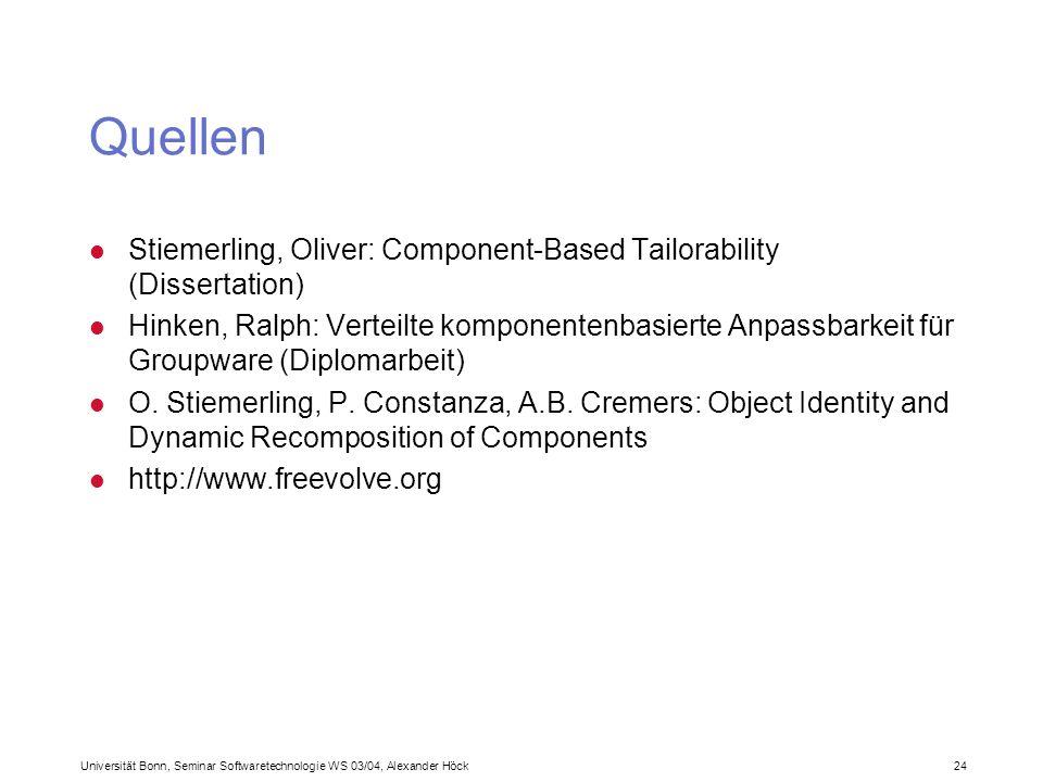 Universität Bonn, Seminar Softwaretechnologie WS 03/04, Alexander Höck 24 Quellen l Stiemerling, Oliver: Component-Based Tailorability (Dissertation) l Hinken, Ralph: Verteilte komponentenbasierte Anpassbarkeit für Groupware (Diplomarbeit) l O.