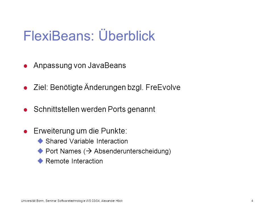Universität Bonn, Seminar Softwaretechnologie WS 03/04, Alexander Höck 4 FlexiBeans: Überblick l Anpassung von JavaBeans l Ziel: Benötigte Änderungen