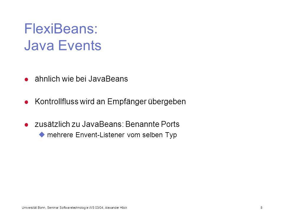 Universität Bonn, Seminar Softwaretechnologie WS 03/04, Alexander Höck 9 FlexiBeans: Remote Interaction l Realisation via Java RMI l Folgen: uEvent-Quelle muss RemoteException abfangen uEmpfänger muss die Klasse UnicastRemoteObject erweitern
