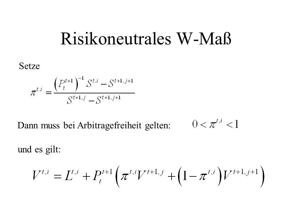 Risikoneutrales W-Maß Setze Dann muss bei Arbitragefreiheit gelten: und es gilt:
